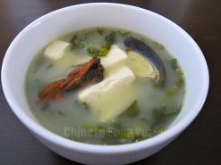 Cilantro Tofu and Preserved Egg Soup
