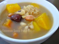 White Fungus Papaya Peanuts and Black Eyed Peas Soup