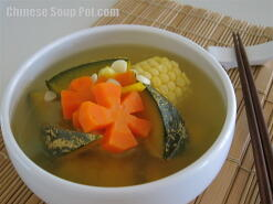 Pumpkin Carrot and Corn Pork Soup