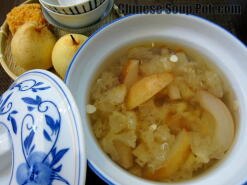 Double Steamed Asian Pear Almond Dessert Soup