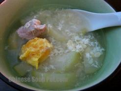 Fuzzy Melon Salted Egg Drop Pork Soup