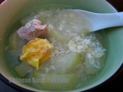 Fuzzy Melon Salted Egg Drop Pork Soup