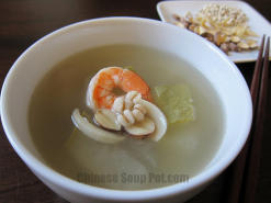 Winter Melon Lotus Seed Barley Shrimp Soup